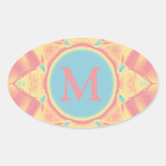 Rainbow Sherbert Symmetry Oval Sticker