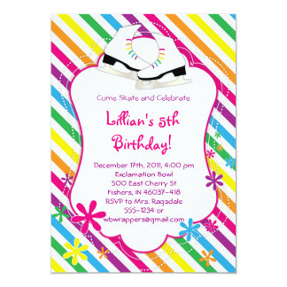 Rainbow Skating Party Invitations - Ice Skates