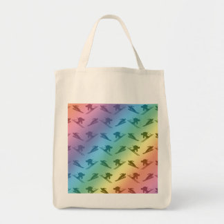 Rainbow ski pattern grocery tote bag
