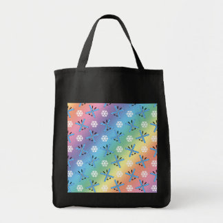 rainbow skis and snowflakes pattern grocery tote bag