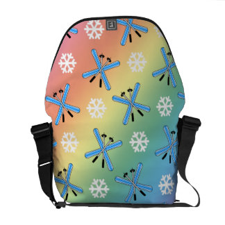 rainbow skis and snowflakes pattern courier bags