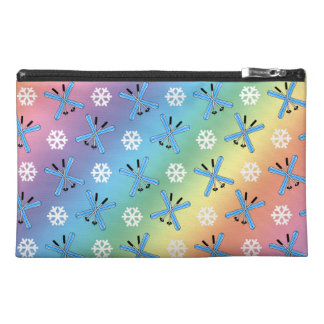 rainbow skis and snowflakes pattern travel accessories bag