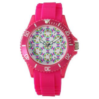 Rainbow Skull Burst Pink watch