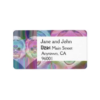 Rainbow Skull Couple Sugar Skulls Address Label