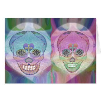 Rainbow Skull Couple Sugar Skulls Greeting Card