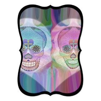 Rainbow Skull Couple Sugar Skulls 5x7 Paper Invitation Card