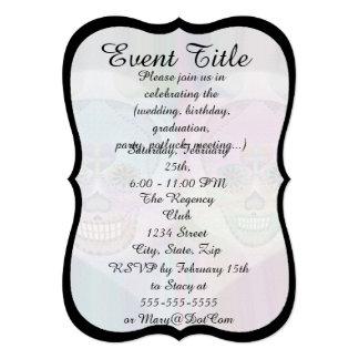"Rainbow Skull Couple Sugar Skulls 5"" X 7"" Invitation Card"