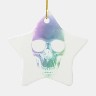 Rainbow Skull - Custom Background Ceramic Star Decoration