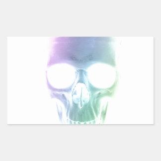 Rainbow Skull - Custom Background Rectangular Sticker