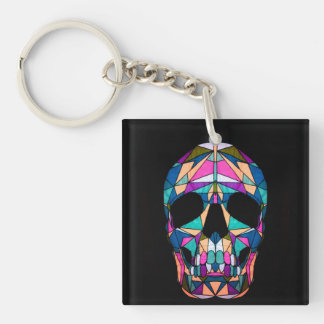Rainbow Skull Double-Sided Square Acrylic Key Ring