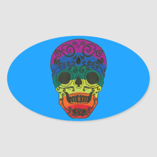 rainbow skull oval sticker