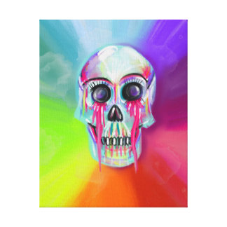 Rainbow Skull Print Stretched Canvas Prints