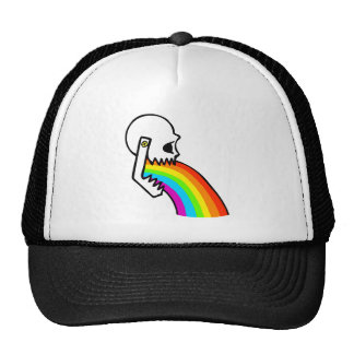 Rainbow Skull Puke Trucker Hat