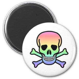 Rainbow Skull Round Fridge Magnet