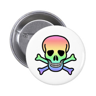 Rainbow Skull Round Pinback Button
