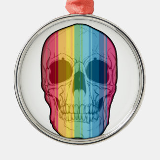 Rainbow Skull Silver-Colored Round Decoration