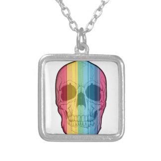 Rainbow Skull Square Pendant Necklace