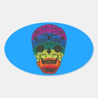rainbow skull oval stickers