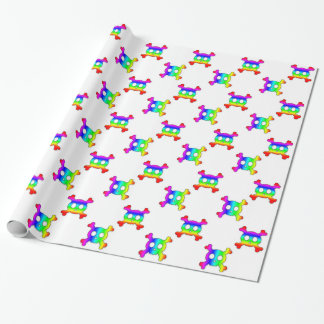 Rainbow Skulls and Crossbones wrapping paper