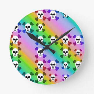Rainbow Skulls Wall Clock