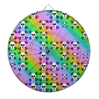 Rainbow Skulls Dartboard