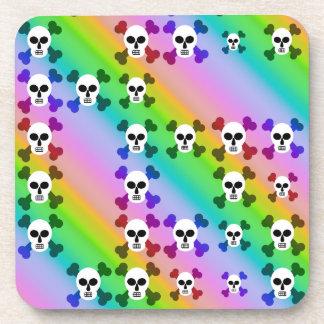 Rainbow Skulls Drink Coaster