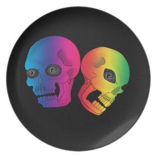 Rainbow Skulls Dinner Plate