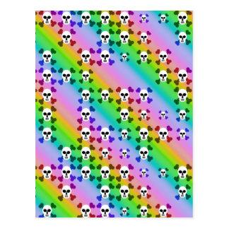 Rainbow Skulls Post Card