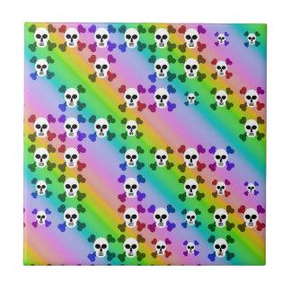 Rainbow Skulls Tile