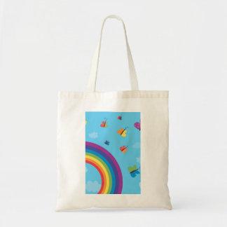 Rainbow Sky Butterflies Budget Tote Bag