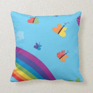Rainbow Sky Butterflies Cushion