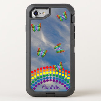 Rainbow Sky Butterflies   Monogrammed Girly OtterBox Defender iPhone 8/7 Case