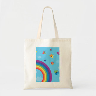Rainbow Sky Butterflies Tote Bag
