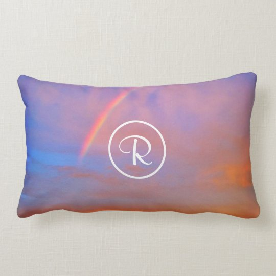 Rainbow sky custom monogram photo lumbar pillow