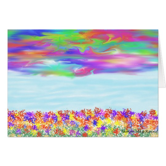Rainbow Sky Flower greeting card