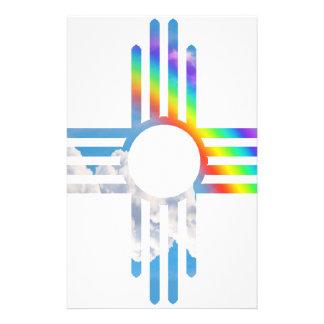Rainbow sky Zia sun symbol Customized Stationery