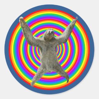 Rainbow Sloth Classic Round Sticker