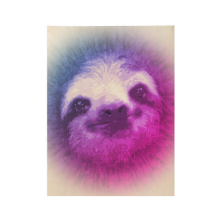 Rainbow Sloth Wood Poster
