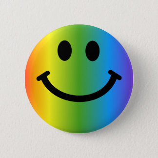 Rainbow Smiley 6 Cm Round Badge