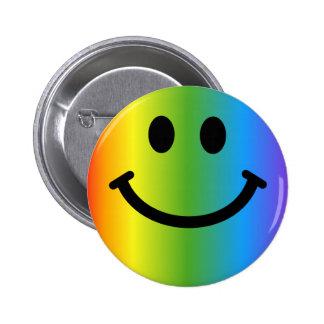 Rainbow Smiley 6 Cm Round Badge