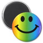 Rainbow Smiley 6 Cm Round Magnet