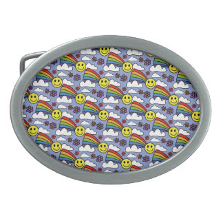 Rainbow Smiley Face and Flowers Hippie Pattern Belt Buckle