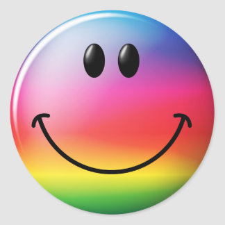 Rainbow Smiley Face Round Sticker