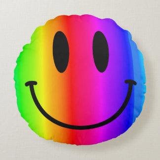 Rainbow Smiley Face Round Throw Pillow