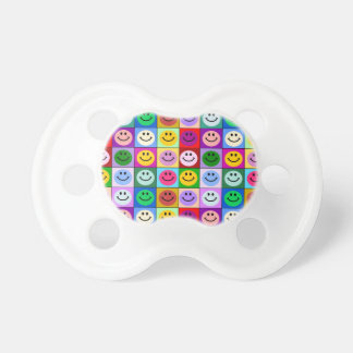 Rainbow smiley face squares baby pacifiers
