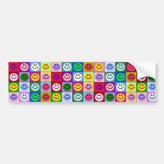 Rainbow smiley face squares bumper sticker