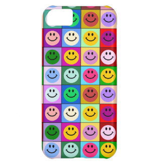 Rainbow smiley face squares iPhone 5C case