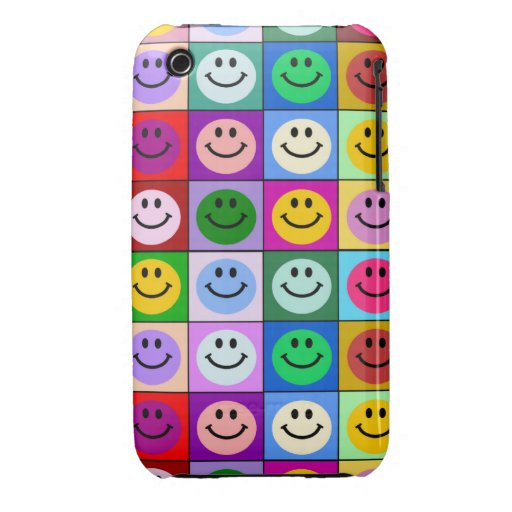 Rainbow smiley face squares iPhone 3 case