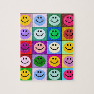 Rainbow smiley face squares jigsaw puzzle