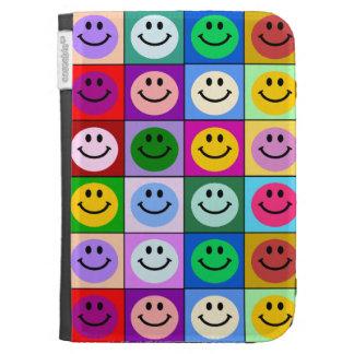 Rainbow smiley face squares kindle folio case